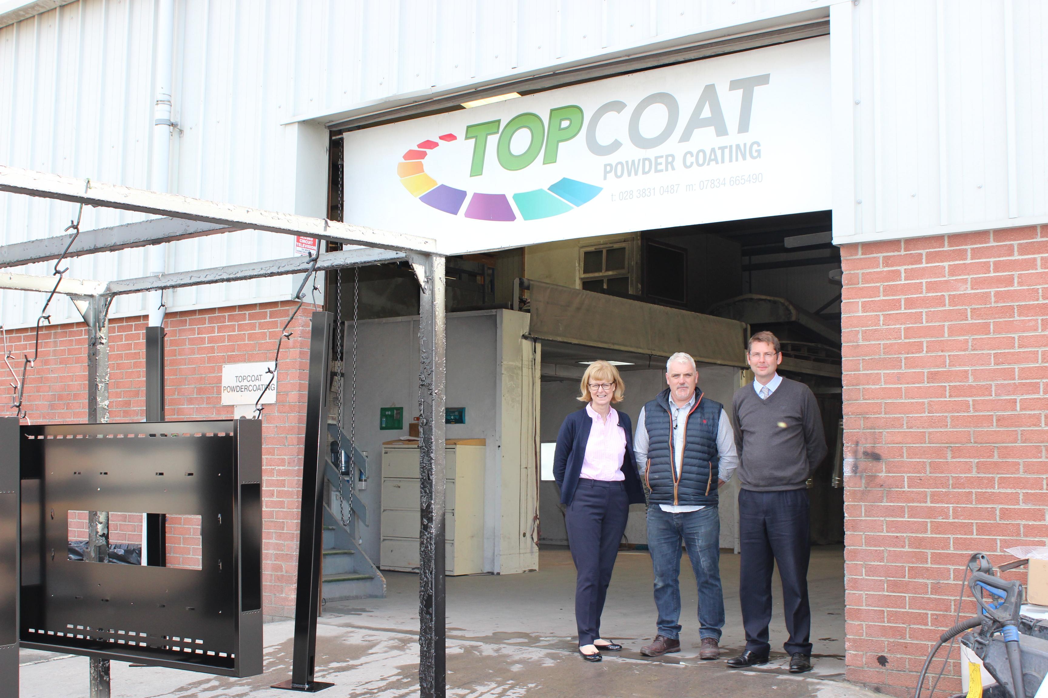 John Murphy from TopCoat Coatings with Jeremy Wilson and Caroline Whiteside from the John Wilson Memorial Trust